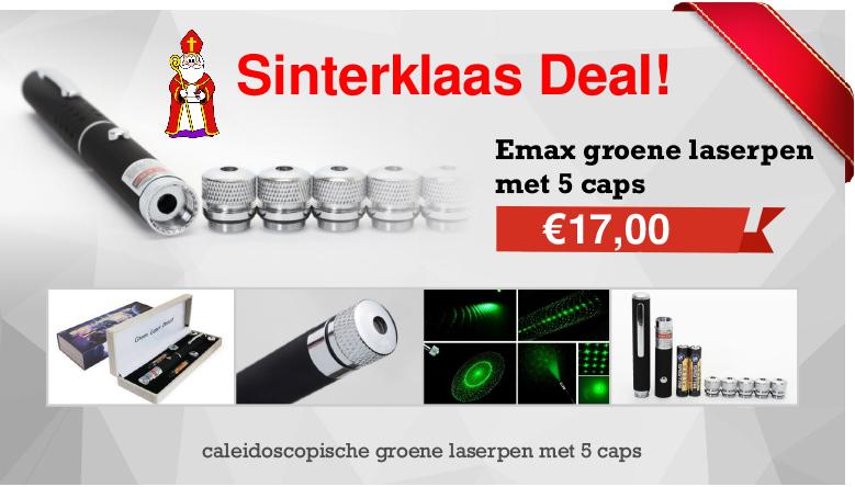 Emax groene laserpen met vijf caps
