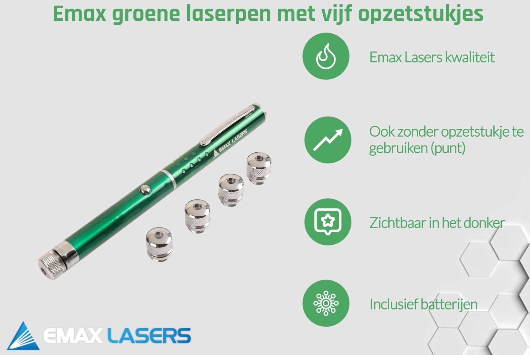 emax groene laserpen met vijf caps banner