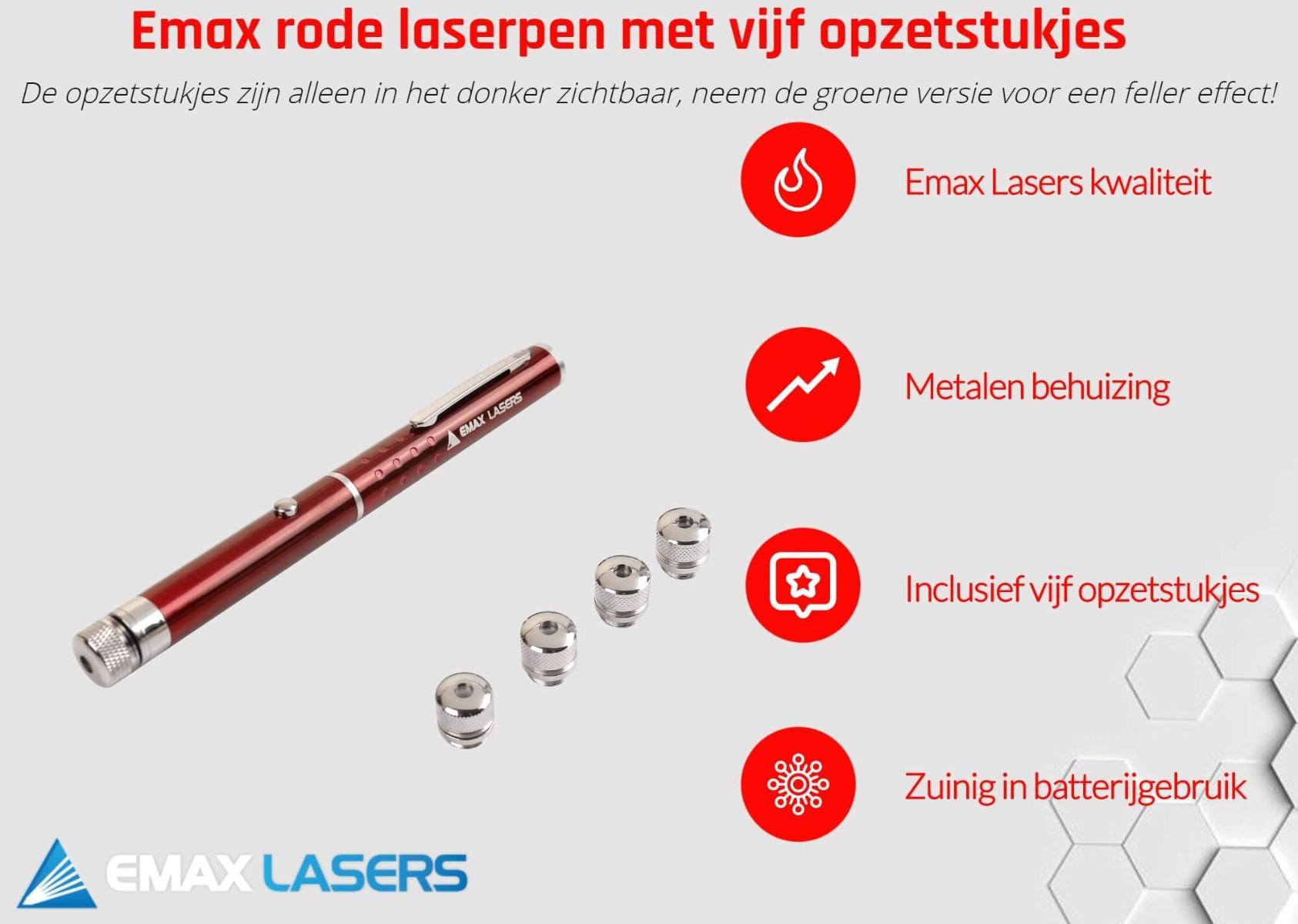 emax rode laserpen met vijf caps banner