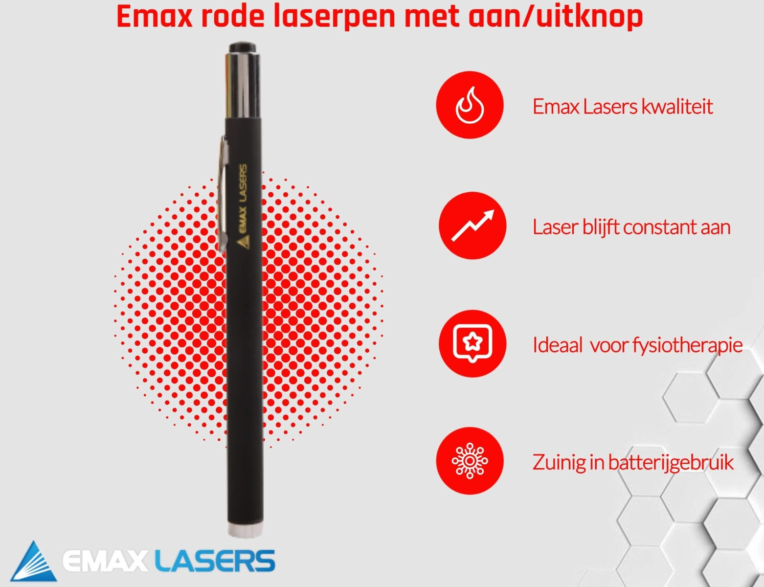 emax rode laserpen met aan-uitknop banner